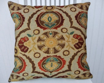 Red, Blue Brown Suzani Decorative Pillow Cover--18x18 or 20x20 or 22x22 Woven Throw Pillow--Sand, Orange, Green Accent Pillow