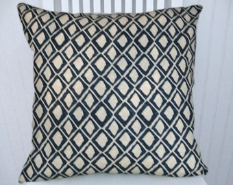 Indigo Blue  Pillow Cover--18x18 or 20x20 or 22x22 Diamond Geometric Decorative Accent Pillow