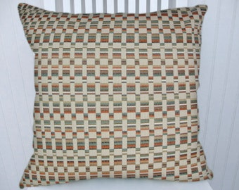 Orange, Blue, Geometric Pillow Cover- 18x18 or 20x20 or 22x22 Cream, Gold and Black Throw Pillow- Accent Pillows