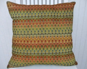 Orange Green Decorative Pillow Cover--18x18 or 20x20 or 22x22--Accent Pillow--Orange, Red, Green, Yellow, Brown