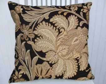 Black Gold Pillow 18x18 or 20x20 or 22x22 Accent Pillow Cover,  Throw Pillow