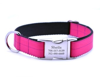Shocking Pink Ribbon & Webbing Dog Collar with Laser Engraved Personalized Buckle