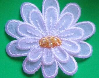 Flower white layered iron on applique