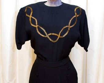 1940s Dress / Gold Beaded Black Rayon Evening Dress by Gothé