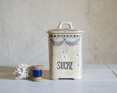 Vintage Kitchen Canisters // 1920 French Art Déco Ironstone // Storage Jar with Blue Floral Design // Rustic Kitchen Decor