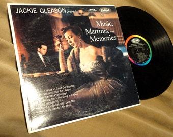 Free Ship ! Jazz Instrumental Romantic Jackie Gleason Presents Music, Martinis, and Memories Capitol W-509 W509 LP Record  Mid-Century 60's