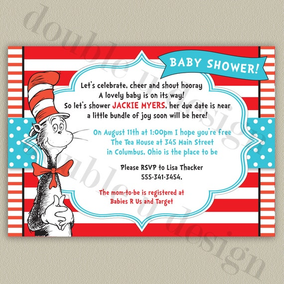 cat in the hat dr seuss baby shower invitation printable invitation