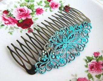 Hair Comb Turquoise Wedding Blue Hair Slide Bridal Headpiece Bridesmaids Hair Pin Gift Patina Verdigris Blue Mint Aqua Hair Adornment
