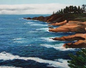 """Windy Day at Depoe Bay 11"""" x 14"""" / Giclee on Canvas/ Fine Art Print"""