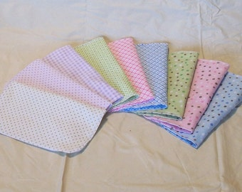 Set of 5 spots, dots, plaids, reusable cloth napkins, baby wipes, lunch napkins