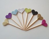 Glitter Heart Cupcake Toppers for Valentines Day Wedddings Baby Shower Birthday Cupcakes Appetizers, Food Picks