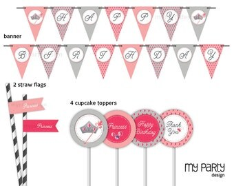 Princess Party Pack - Pink and Grey - INSTANT DOWNLOAD - Printable PDF