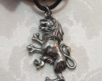 Pewter Rampant Lion Charm Necklace