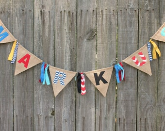Burlap Banner Name Bunting, Personalize With Your Name and Colors for Birthday or Any Event, Custom Burlap Banner