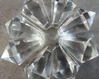 8 Crystal Prism Drop Cone Chandelier Lamp Pieces