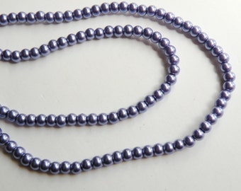Violet grape purple glass pearl beads round 4mm full strand 9856GL