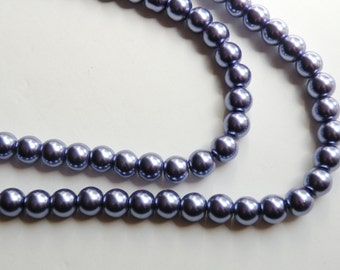 Violet grape purple glass pearl beads round 8mm full strand 9872GL