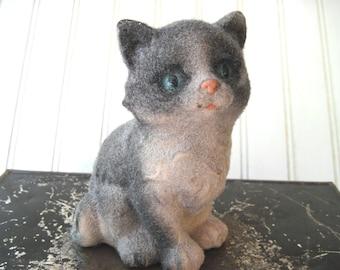 Vintage flocked cat figurine grey and white kitten