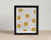 LAST CHANCE - Mid Century Modern Art Print - Orange and Black Abstract Dandelion Wall Art - 5x7, 8x10 Wall Decor