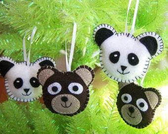 4 BEARS  Soft sculpture felt ornaments  Handmade NEW Child Safe Nature Country Panda Brown bear Set of 4 bears