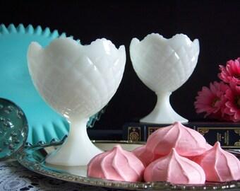 Pretty Pair of Diamond Pattern White Milk Glass Pedestal Compotes - Wedding Table