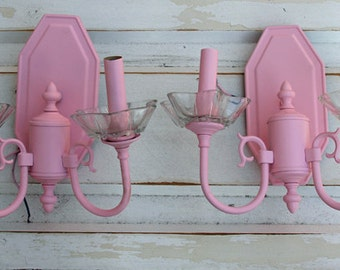 Vintage brass Sconces with glass details Painted and slight distress Light Pink By Foo Foo La La