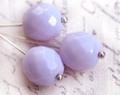 10mm round beads, Fire polished czech glass beads - Light lilac, violet - large, faceted - 6Pc - 1977