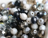 Grey beads mix, czech glass, fire polished, glass beads, faceted, round spacer beads - 6mm - 30Pc - 1937