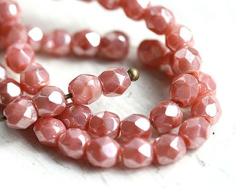 4mm Pink czech glass beads, Lustered Pink Coral spacers, Fire polished - 50Pc - 1608