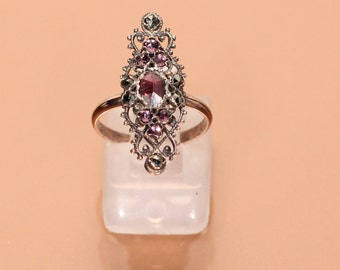 Antique Marquise Ring Garnet Rhinestones Marcassites Ring Mix Silver Plated Gold Tone Ring French Victorian Jewellery Ring Size 5.60 Approx