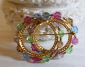 Vtg Napier Double Circle Multi-Colored Glass Bead Brooch