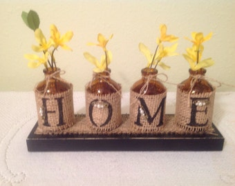Home Burlap Wrapped Bottles. UpCycled Bottles. Burlap Decor.Rustic. Housewarming Gift. Home. Cottage Chic. Home Deco. Prim