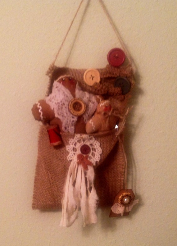 Gingers in burlap bag wall decor ginger lover housewarming for Decorative burlap bags