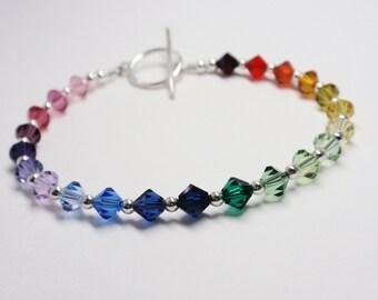 Rainbow Bracelet, Swarovski Rainbow Handmade Swarovski Bracelet, Swarovski Beaded Bracelet
