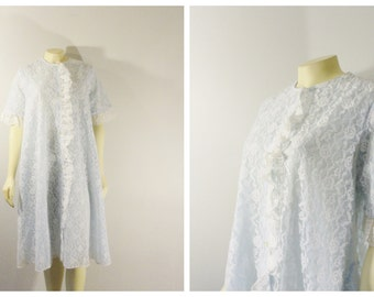 Vintage Peignoir Robe 60s Mad Men Blue & White Lace Fashions by Marilyn Union Made in USA size Medium Modern S M L Xl