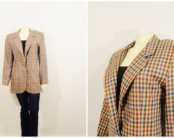 Vintage Blazer 80s Oversized Blazer Counterparts Colorful Plaid Burgundy Eggplant Blue Brown Size 6 Modern Small to Medium