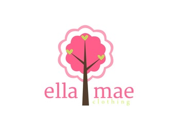 Premade Logo for Photographers and Small Crafty Boutiques Pink Tree with Owl