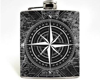 World Map Compass Hip Flask 6oz Flask Mens Flask Ladies Flask Nautical Flask Mens Flask Wanderlust Travel Accessories Wedding Groomsmen