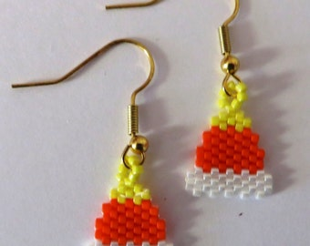 Small candy corn earrings for Halloween
