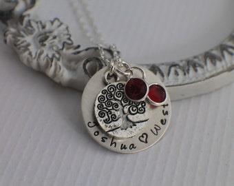 Personalized Necklace - Hand Stamped Mommy Jewelry - Family Tree Necklace -  Birthstone Jewelry - Sterling Silver Mom Jewelry