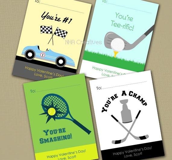 Personalized Sports Valentines Day Cards Race Car – Sports Valentines Cards