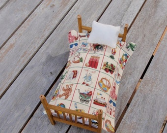 Dollhouse bedspread or bedding for children and one pillow
