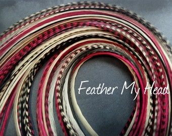 16 Feather Hair Extensions, Long Whiting Grizzly Real Rooster Feathers, 9-12 inches long, Sedona