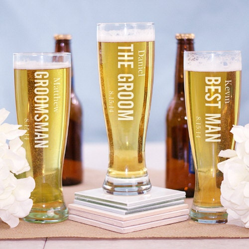 Engraved Wedding Beer Glasses : Personalized Wedding Party Engraved Beer Pilsner Glass Groom