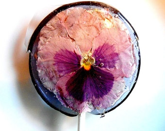Gourmet Blueberry Ice Large Pansy Edible Giant Lollipops Candied Fresh Flowers Wedding Favors