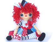 Primitive Raggedy Ann Doll Annie Red White And Blue Gingham Patchwork