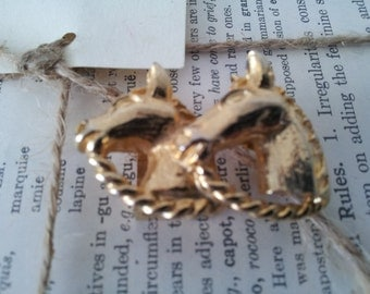 70s Mimi Di Niscemi Equestrian Theme Horse Head Gold Belt Buckle