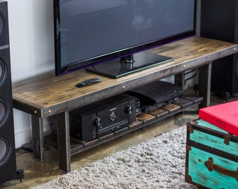 Entertainment Center, Stereo Console, Wooden TV Stand, Reclaimed Wood  Console, Industrial Furniture