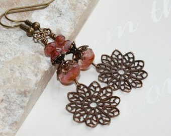 Dangling Filigree Earrings, Pink earrings, Vintaj earrings, Rustic jewelry, Filigree Earrings