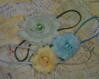 Set of Three...Baby Girl Headbands...Flower Headbands...Newborn Headbands...Rosette Headbands...Photography Props
